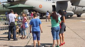 Crowd at romanian aviation day stock video footage