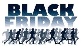 Crowd of running customers. Crowd of customers. People are running for Black Friday`s sale Stock Photography