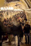 Crowd during rush hour in Moscow metro station, Russia Royalty Free Stock Photos