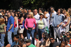 Crowd at San Francisco Concert. Fans watch the popular rock group Lifehouse play at the Alice@97.3 Summerthing free outdoor concert in San Francisco's Golden Royalty Free Stock Images