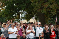 Crowd at Save Our Cross Rally, Knoxville, Iowa Stock Images