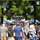 Crowd scene at Fall For Greenville 2018. Fall For Greenville is one of the largest outdoor festivals in the Southeastern United States. This event is a huge stock images