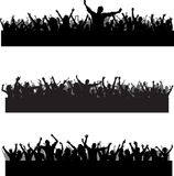 Crowd scenes. Collection of three different party crowd silhouettes Royalty Free Stock Photo
