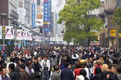 Crowd in Shanghai stock photos