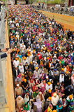 Crowd of sikh devotees take part to Baisakhi procession, high POV Stock Images