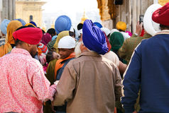 Crowd of Sikhs in turbans in Amritsar Royalty Free Stock Photo