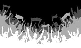 Crowd silhouette background. Soccer fan people baseball basketball football handball hockey audience tribune. Vector royalty free illustration