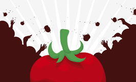 Crowd Silhouette Having fun in Tomato Throwing Festival, Vector Illustration. Banner with a red tomato and crowd silhouette throwing tomatoes each other at Stock Images