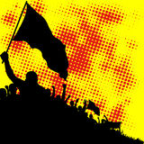 Crowd silhouette. Yellow and red background with crowd silhouette Royalty Free Stock Photography