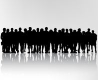 Crowd silhouettes Stock Photos