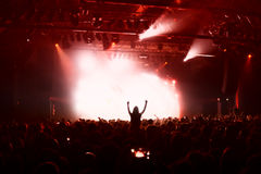 Crowd silhouettes at music concert Stock Photos