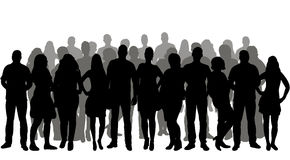 Crowd silhouettes. Silhouette people, group, crowd silhouettes Royalty Free Stock Photos