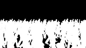 Crowd silhouettes walking, camera fly over stock footage