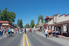 The Crowd At The Sister's Quilt Show. The crowd walks the streets enjoying the outdoor quilt show in Sisters, Oregon royalty free stock photos