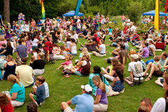 Crowd Sits And Waits For Release of Butterflies At Festival Royalty Free Stock Image