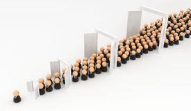 Business Crowd Natural Selection Doors. Crowd of small symbolic businessmen figures, promotion doors, 3d illustration, horizontal, over white Stock Photography