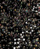 Cartoon Crowd System, Dark Glows. Crowd of small symbolic 3d figures linked by lines, complex layered system dark grey, few glowing, over black, vertical vector illustration
