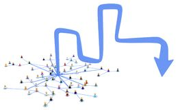Cartoon Crowd, Odd Arrow. Crowd of small symbolic 3d figures linked by lines, odd arrow, over white, isolated, horizontal Stock Photos
