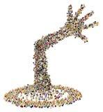 Cartoon Crowd, Big Arm Circle. Crowd of small symbolic figures big arm shape ring, 3d illustration, horizontal, , over white Royalty Free Stock Image