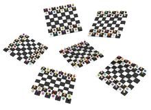 Cartoon Crowd, Chessboards. Crowd of small symbolic figures chessboards, 3d illustration, horizontal, isolated, over white Royalty Free Stock Photos