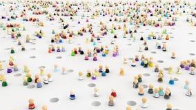 Cartoon Crowd, Pit Falls. Crowd of small symbolic figures, pitfall holes, 3d illustration, horizontal Stock Photo