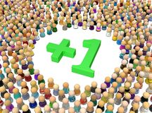 Cartoon Crowd, Plus One. Crowd of small symbolic figures plus one, 3d illustration, horizontal, isolated, over white Stock Photos