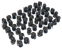 Riot Police Crowd. Crowd of small symbolic figures riot police, 3d illustration, horizontal, isolated, over white Royalty Free Stock Photos