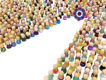 Cartoon Crowd, Target Range. Crowd of small symbolic figures target path cleared, 3d illustration, horizontal, isolated, over white Royalty Free Stock Images
