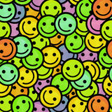 Crowd of Smiling emoticons. Smiles icon pattern. Stock Photography