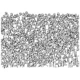 crowd of soccer fans cheering on stadium vector illustration sketch doodle hand drawn with black lines isolated on white stock illustration