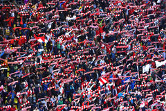 Crowd of soccer fans of Dinamo Bucharest Stock Photography