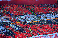 Crowd of soccer fans in the stadium Royalty Free Stock Photo