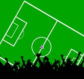Crowd at soccer field. An illustration of a silhouetted and cheering crowd against the background of a green soccer field with white lines Royalty Free Stock Photo
