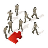 Crowd Source - Puzzled. A puzzle piece out of place causes confusion Stock Photo