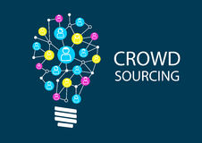 Crowd sourcing new ideas via social network brainstorming. Royalty Free Stock Image