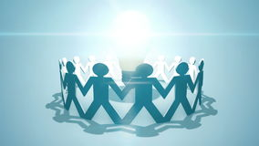 Crowd Sourcing - team circling a light bulb illustrating crowdsourcing and crowd funding. Animated motion graphic of paper chain people around a lightbulb royalty free illustration