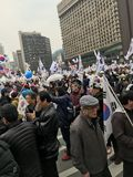 Crowd of South Koreans Protesting in City Hall Square Stock Photos