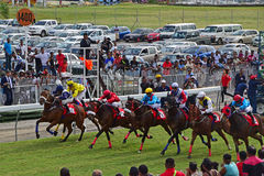 Crowd of spectators, cars & jockeys riding horses fast and speedy at Champ de Mars Racecourse