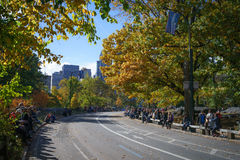 Crowd of spectators in Central Park before 25 mile marker Stock Image