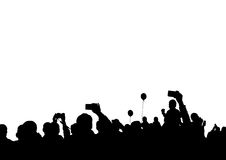 Crowd of spectators four. Crowd of spectators at a concert on a white background Royalty Free Stock Images