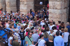 Crowd of spectators near the Arena of Verona entrance Stock Photo