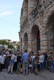 crowd of spectators near the Arena of Verona entrance Stock Image