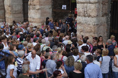 Crowd of spectators near the Arena of Verona entrance Royalty Free Stock Images