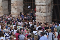 Crowd of spectators near the Arena of Verona entrance Stock Photo