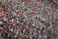 Crowd of spectators in the stands of the football field. Mallorca, Spain- May 29, 2016 Royalty Free Stock Image