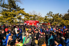 Crowd on Spring Festival Temple Fair, during Chinese New Year. The photo was taken on Feb. 9, 2016, from Ditan Park, Beijing, China