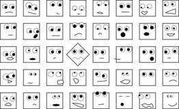 A crowd of square heads Stock Photos