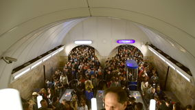 Crowd in St. Petersburg subway in Victory Day stock video footage