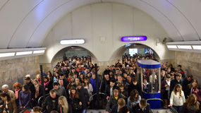 Crowd in St. Petersburg subway in Victory Day Royalty Free Stock Photography