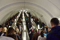 Crowd in St. Petersburg subway in Victory Day Royalty Free Stock Images